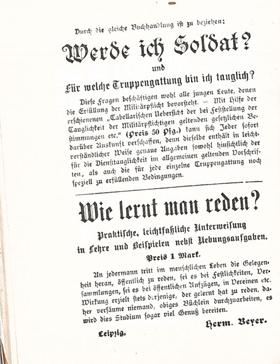 Verlagswerbung um 1910