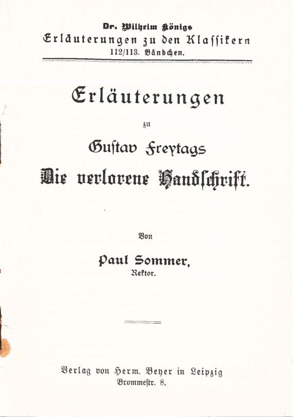 Titelcover Die verlorene Handschrift Königs Erläuterungen