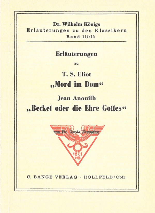 Titelcover Mord im Dom Eliot Becket oder die Ehre Gottes Anouilh Königs Erläuterungen