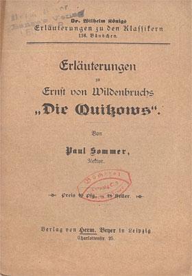 Titelcover Die Quitzows Wildenbruchs Königs Erläuterungen