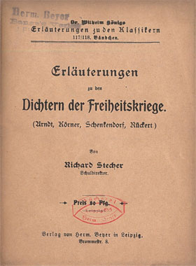 Titelcover Dichter der Freiheitskriege Arndt Körner Schenkendorf Rückert Königs Erläuterungen