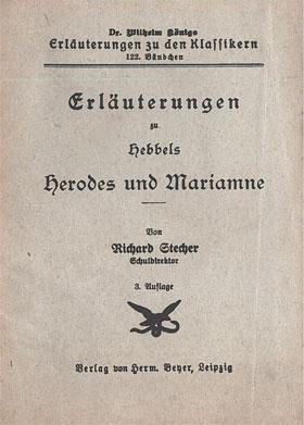 Titelcover Herodes und Mariamne Hebbel Königs Erläuterungen
