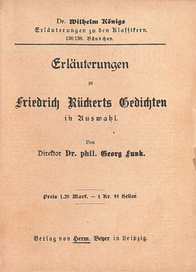 Titelcover Gedichte Rückert Königs Erläuterungen