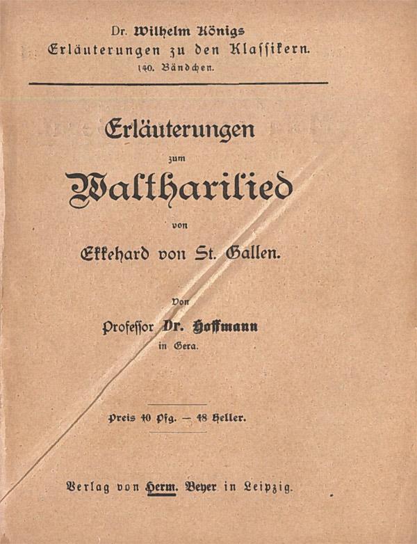 Titelcover Waltharius Waltharilied Königs Erläuterungen