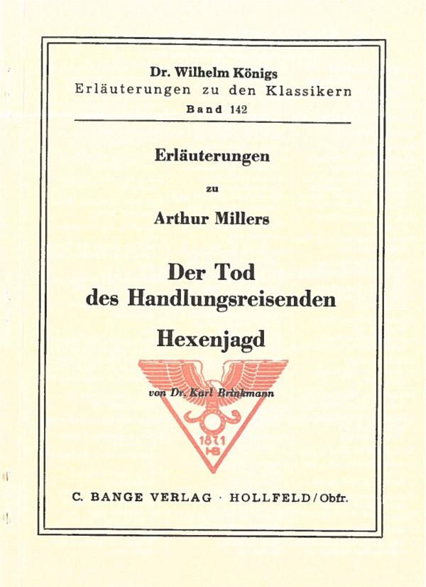Titelcover Tod Handlungsreisenden Miller Königs Erläuterungen