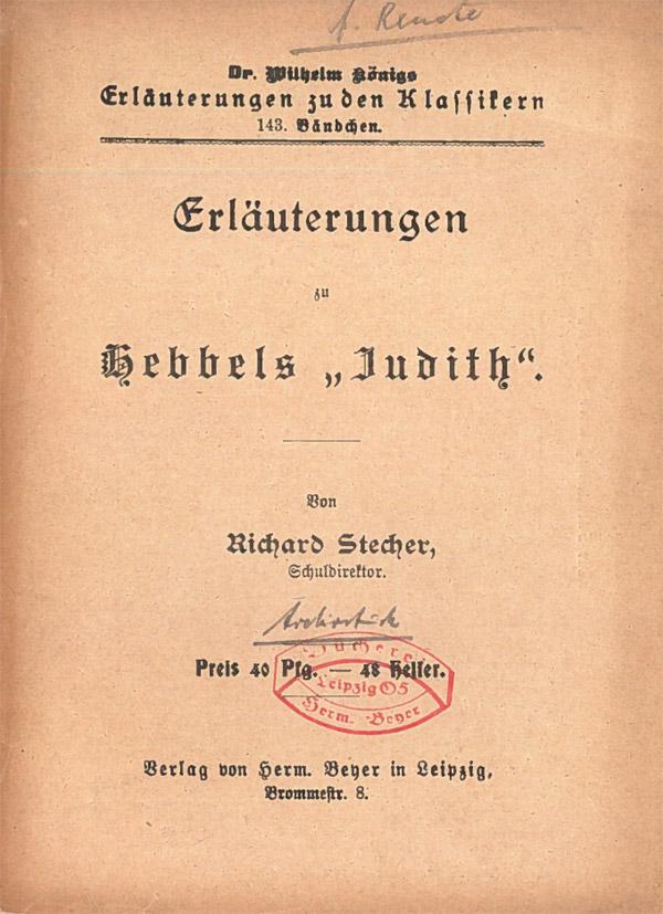 Titelcover Judith Hebbel Königs Erläuterungen
