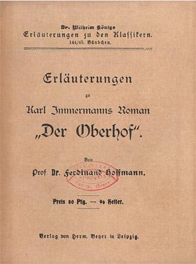 Titelcover Oberhof Immermann Königs Erläuterungen