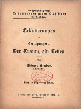 Titelcover Der Traum, ein Leben. Grillparzer Königs Erläuterungen