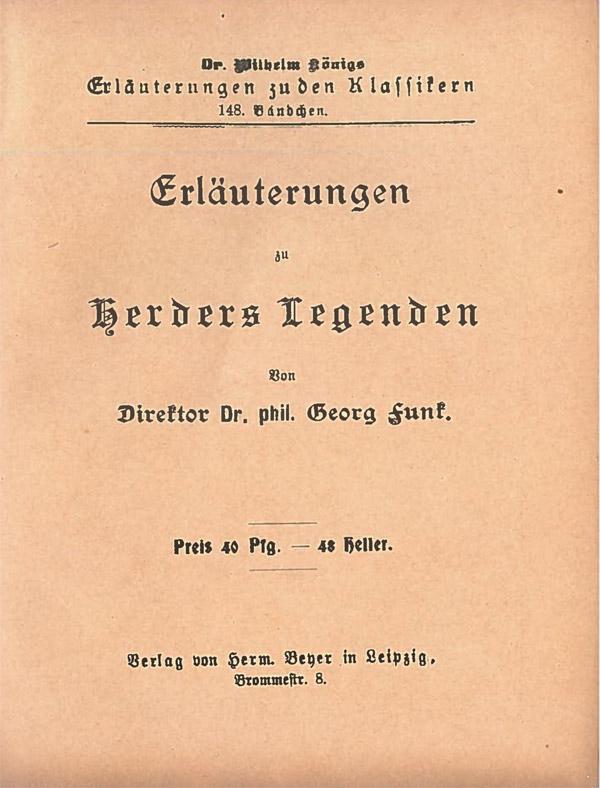 Titelcover Herders Legenden Königs Erläuterungen