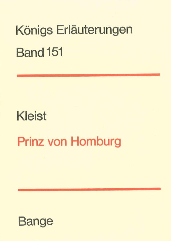 Titelcover Prinz Homburg Kleist Königs Erläuterungen